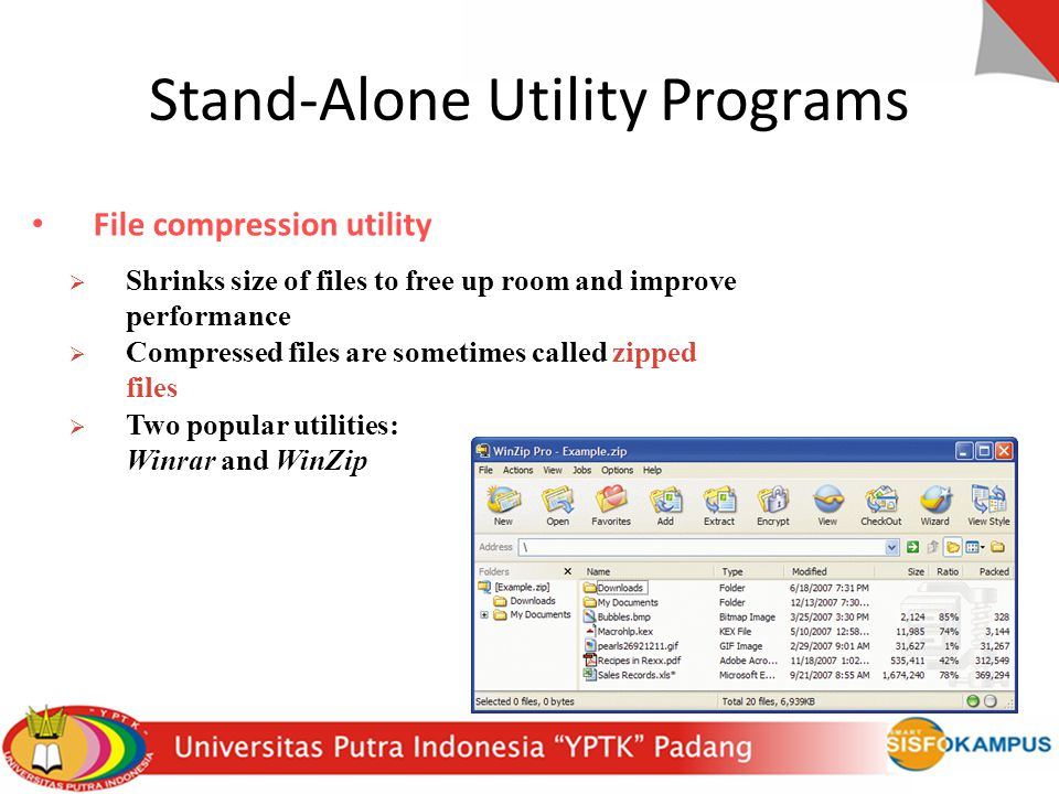 Stand-Alone Utility Programs File compression utility  Shrinks size of files to free up room and improve performance  Compressed files are sometimes