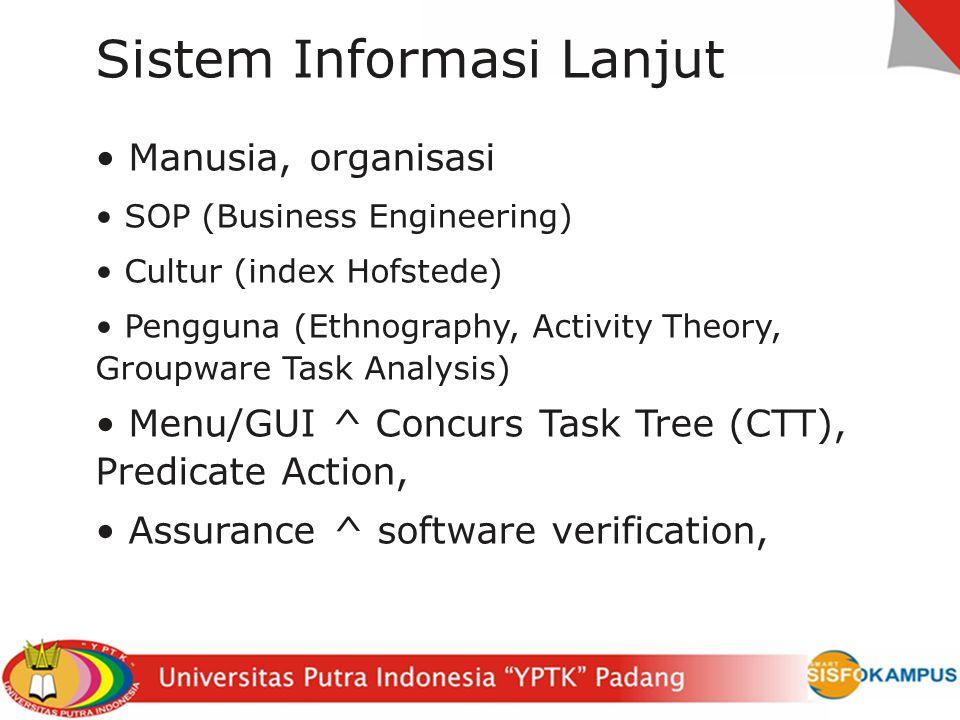 Tingkat lanjut Requirement Analysis Requirement Engineering (Misuse, LWBA, I*) Specification Method (Formal, Z, VDM, TLA, Informal, Controlled Lang) Design Notation for Design (UML, SDL, IDEF), Workflow model (BPMN, swimlane, SOP_INFO) Paradigm of system (Language Oriented, Neural Network, Fuzzy etc) User Model (GOMS, Activity Theory etc) (CTT, GTA, HTA etc), Menu
