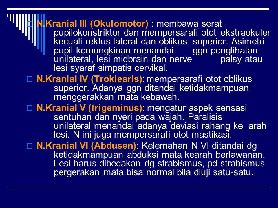  N.Kranial III (Okulomotor) : membawa serat pupilokonstriktor dan mempersarafi otot ekstraokuler kecuali rektus lateral dan oblikus superior. Asimetr