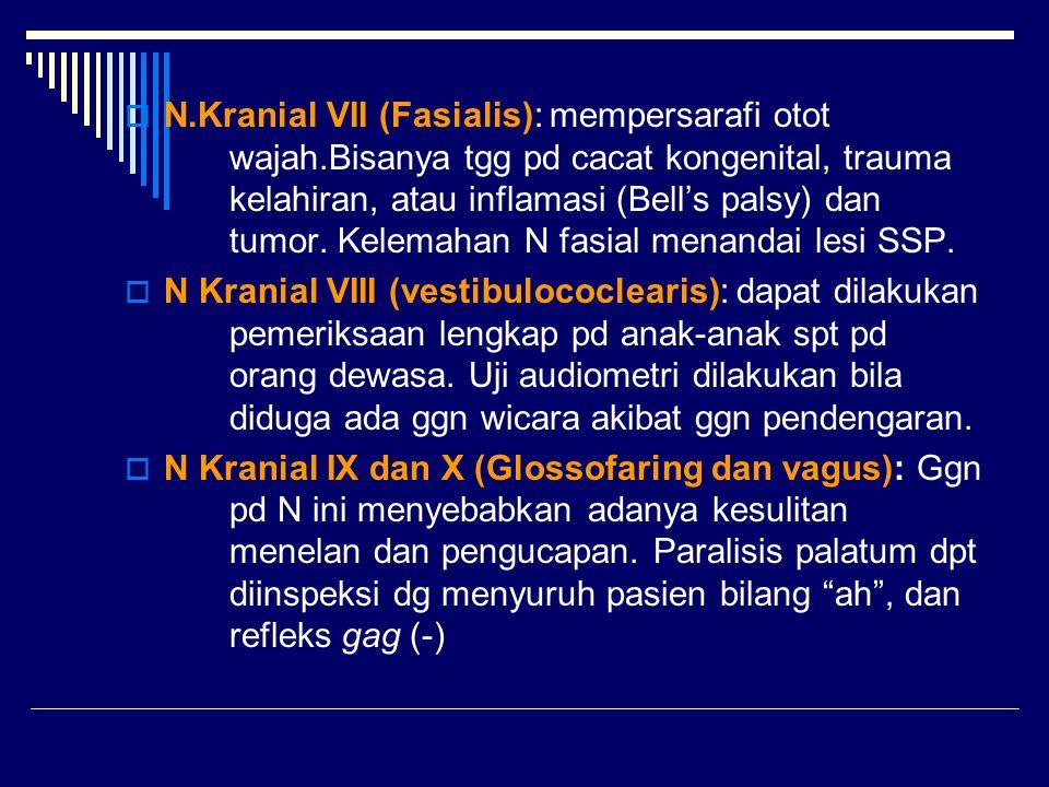  N.Kranial VII (Fasialis): mempersarafi otot wajah.Bisanya tgg pd cacat kongenital, trauma kelahiran, atau inflamasi (Bell's palsy) dan tumor. Kelema