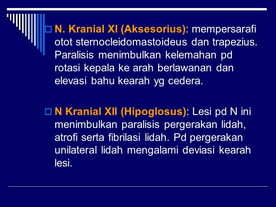  N. Kranial XI (Aksesorius): mempersarafi otot sternocleidomastoideus dan trapezius. Paralisis menimbulkan kelemahan pd rotasi kepala ke arah berlawa