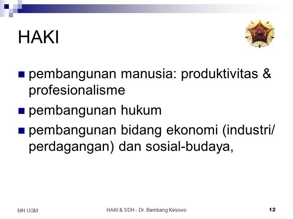 HAKI & SDH - Dr. Bambang Kesowo12 MH UGM HAKI pembangunan manusia: produktivitas & profesionalisme pembangunan hukum pembangunan bidang ekonomi (indus