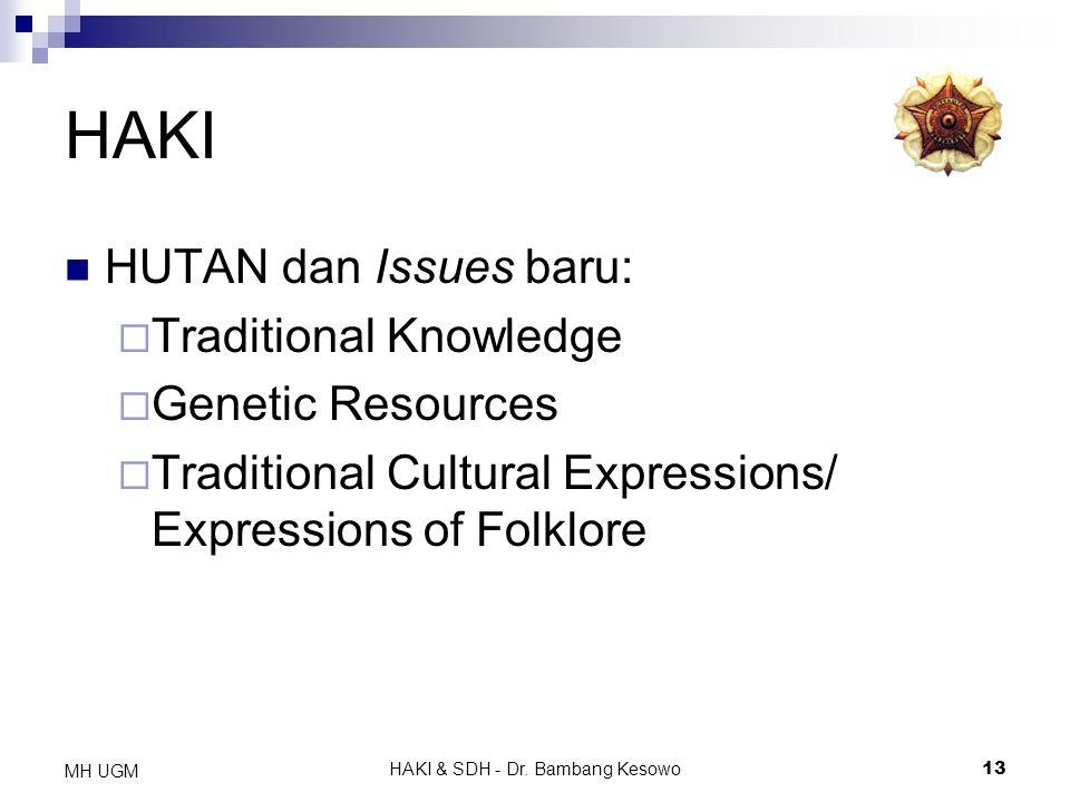 HAKI & SDH - Dr. Bambang Kesowo13 MH UGM HAKI HUTAN dan Issues baru:  Traditional Knowledge  Genetic Resources  Traditional Cultural Expressions/ E
