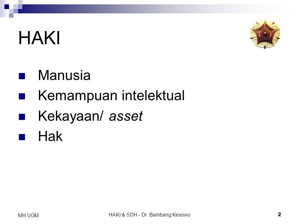 HAKI & SDH - Dr. Bambang Kesowo2 MH UGM HAKI Manusia Kemampuan intelektual Kekayaan/ asset Hak