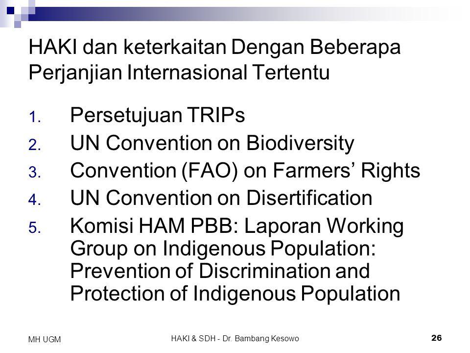 HAKI & SDH - Dr. Bambang Kesowo26 MH UGM HAKI dan keterkaitan Dengan Beberapa Perjanjian Internasional Tertentu 1. Persetujuan TRIPs 2. UN Convention