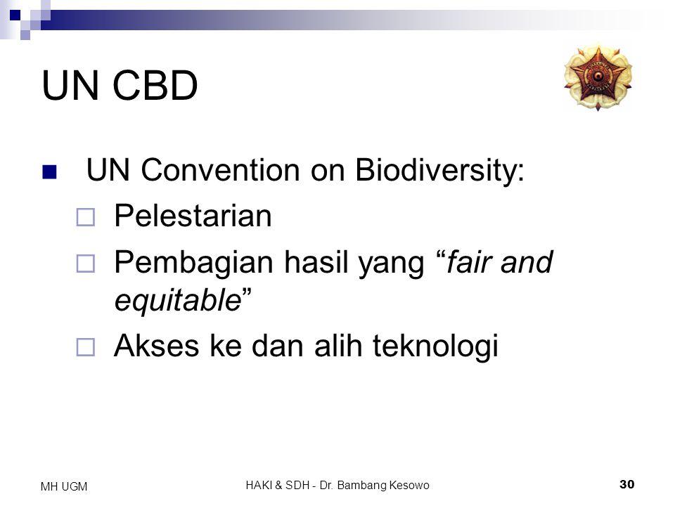 """HAKI & SDH - Dr. Bambang Kesowo30 MH UGM UN CBD UN Convention on Biodiversity:  Pelestarian  Pembagian hasil yang """"fair and equitable""""  Akses ke da"""