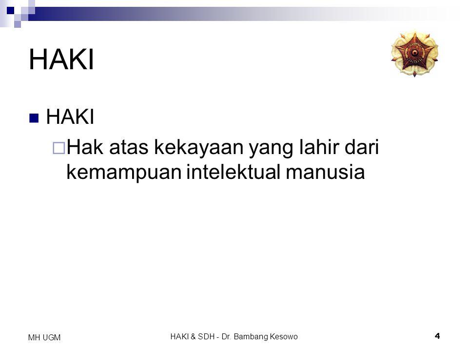 HAKI & SDH - Dr. Bambang Kesowo4 MH UGM HAKI  Hak atas kekayaan yang lahir dari kemampuan intelektual manusia