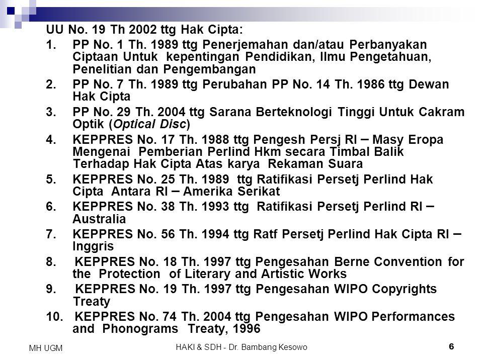 HAKI & SDH - Dr. Bambang Kesowo6 MH UGM UU No. 19 Th 2002 ttg Hak Cipta: 1. PP No. 1 Th. 1989 ttg Penerjemahan dan/atau Perbanyakan Ciptaan Untuk kepe