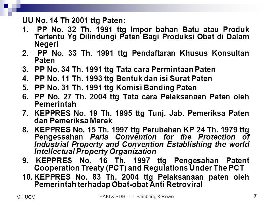HAKI & SDH - Dr. Bambang Kesowo7 MH UGM UU No. 14 Th 2001 ttg Paten: 1. PP No. 32 Th. 1991 ttg Impor bahan Batu atau Produk Tertentu Yg Dilindungi Pat