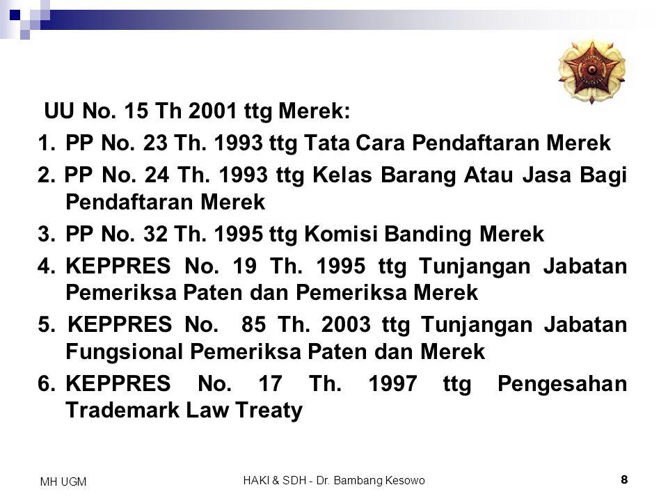 HAKI & SDH - Dr. Bambang Kesowo8 MH UGM UU No. 15 Th 2001 ttg Merek: 1.PP No. 23 Th. 1993 ttg Tata Cara Pendaftaran Merek 2. PP No. 24 Th. 1993 ttg Ke