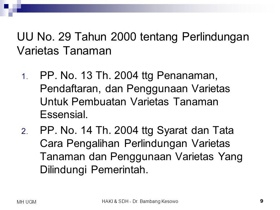 HAKI & SDH - Dr. Bambang Kesowo9 MH UGM 1. PP. No. 13 Th. 2004 ttg Penanaman, Pendaftaran, dan Penggunaan Varietas Untuk Pembuatan Varietas Tanaman Es