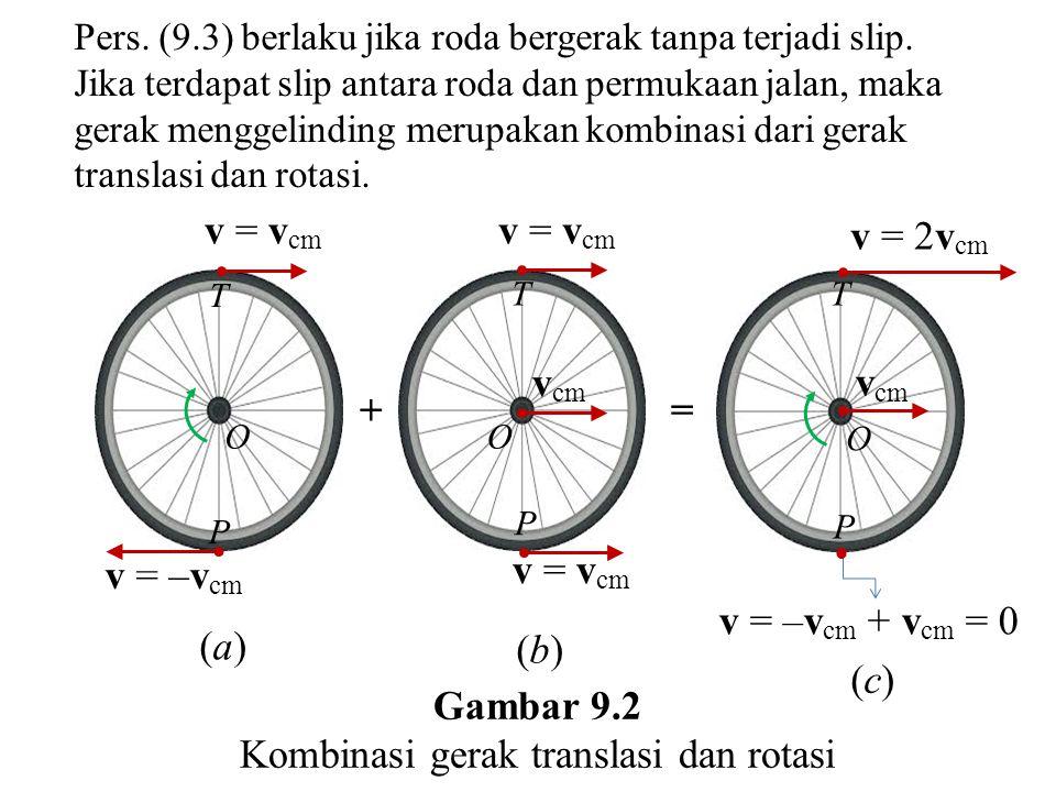 v = –v cm + v cm = 0 = (a)(a) (b)(b) + v = v cm O T v = –v cm P v cm  v = v cm P P TT O O v cm v = v cm v = 2v cm (c)(c) Gambar 9.2 Kombinasi gerak translasi dan rotasi Pers.