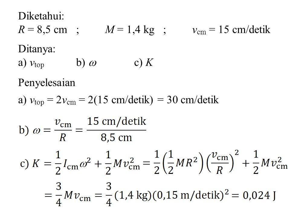 Diketahui: R = 8,5 cm; M = 1,4 kg; v cm = 15 cm/detik Ditanya: a) v top b)  c) K Penyelesaian a) v top = 2v cm = 2(15 cm/detik) = 30 cm/detik