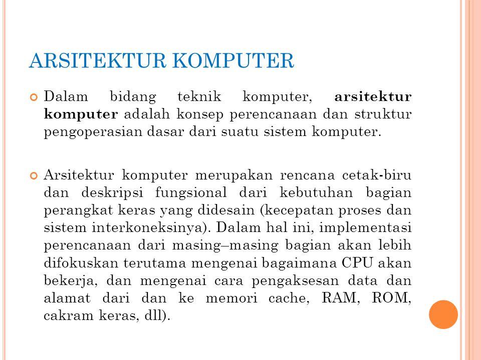 Dalam bidang teknik komputer, arsitektur komputer adalah konsep perencanaan dan struktur pengoperasian dasar dari suatu sistem komputer. Arsitektur ko