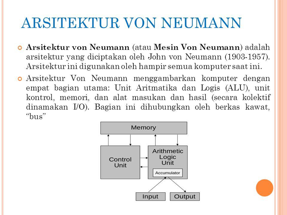 ARSITEKTUR VON NEUMANN Arsitektur von Neumann (atau Mesin Von Neumann ) adalah arsitektur yang diciptakan oleh John von Neumann (1903-1957). Arsitektu