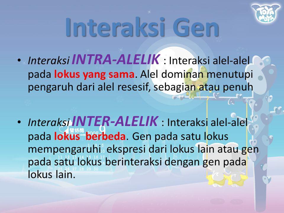 Interaksi Gen Interaksi INTRA-ALELIK : Interaksi alel-alel pada lokus yang sama. Alel dominan menutupi pengaruh dari alel resesif, sebagian atau penuh