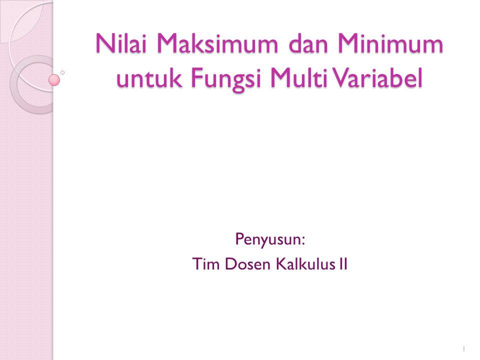 Nilai Maksimum dan Minimum untuk Fungsi Multi Variabel Penyusun: Tim Dosen Kalkulus II 1