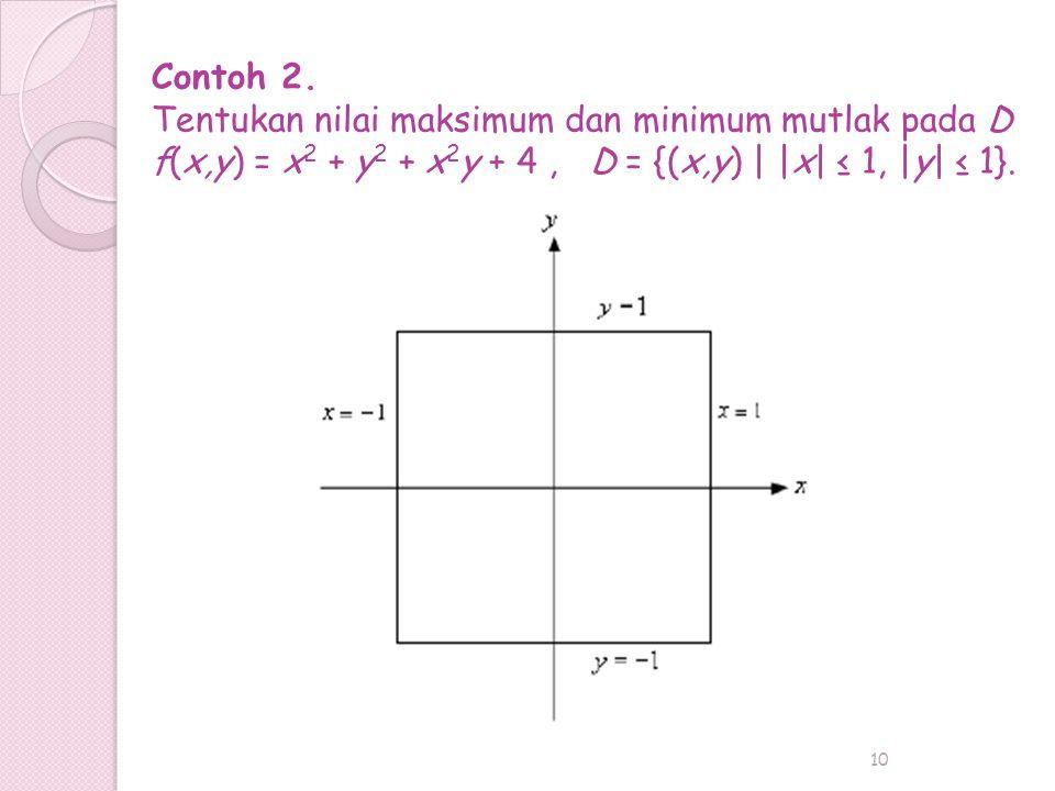 10 Contoh 2. Tentukan nilai maksimum dan minimum mutlak pada D f(x,y) = x 2 + y 2 + x 2 y + 4, D = {(x,y) | |x| ≤ 1, |y| ≤ 1}.