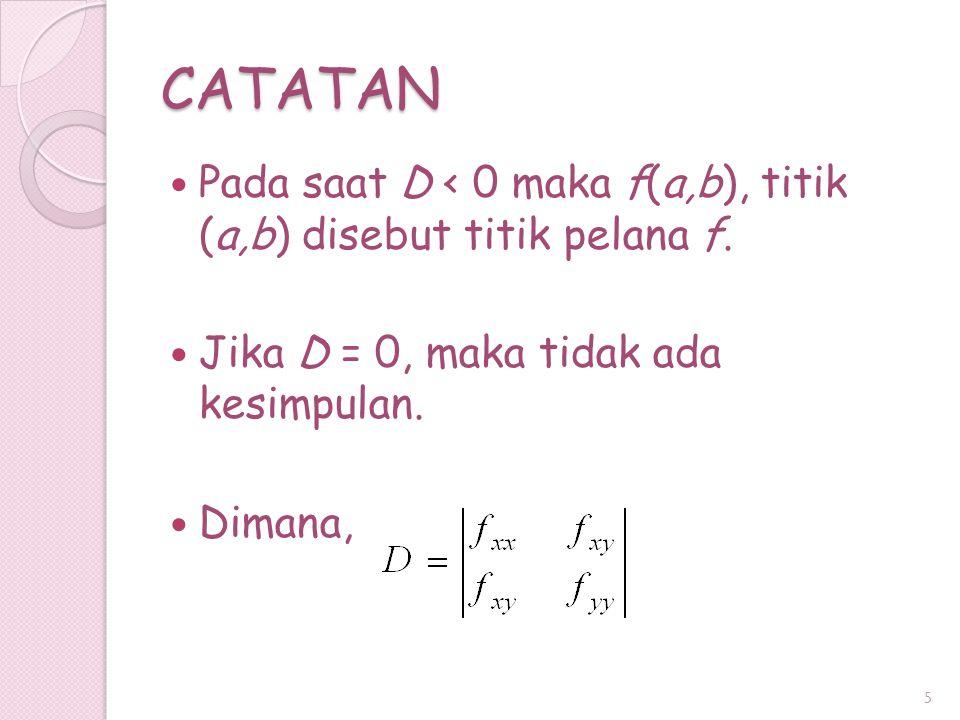 CATATAN Pada saat D < 0 maka f(a,b), titik (a,b) disebut titik pelana f. Jika D = 0, maka tidak ada kesimpulan. Dimana, 5