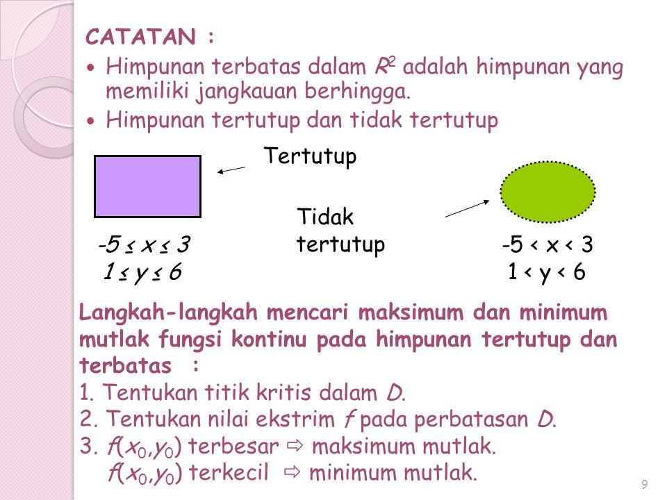 9 Langkah-langkah mencari maksimum dan minimum mutlak fungsi kontinu pada himpunan tertutup dan terbatas : 1. Tentukan titik kritis dalam D. 2. Tentuk