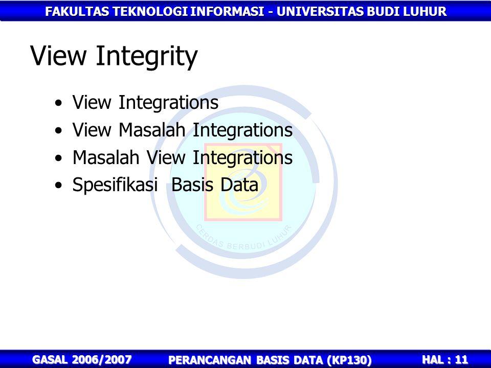FAKULTAS TEKNOLOGI INFORMASI - UNIVERSITAS BUDI LUHUR HAL : 11 GASAL 2006/2007 PERANCANGAN BASIS DATA (KP130) View Integrity View Integrations View Ma