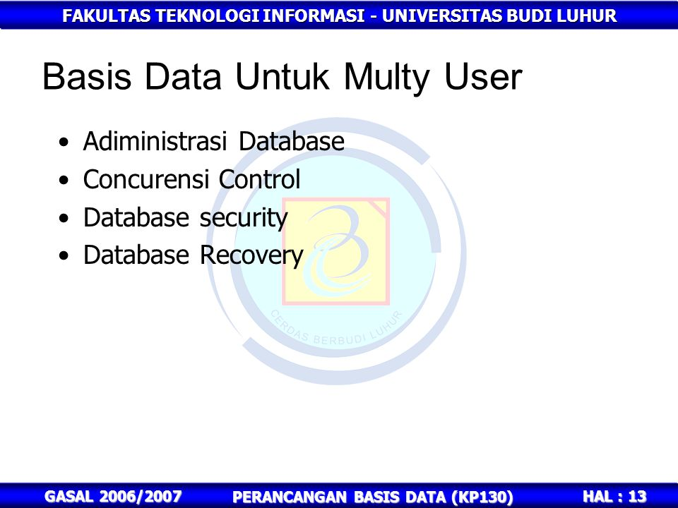 FAKULTAS TEKNOLOGI INFORMASI - UNIVERSITAS BUDI LUHUR HAL : 13 GASAL 2006/2007 PERANCANGAN BASIS DATA (KP130) Basis Data Untuk Multy User Adiministras