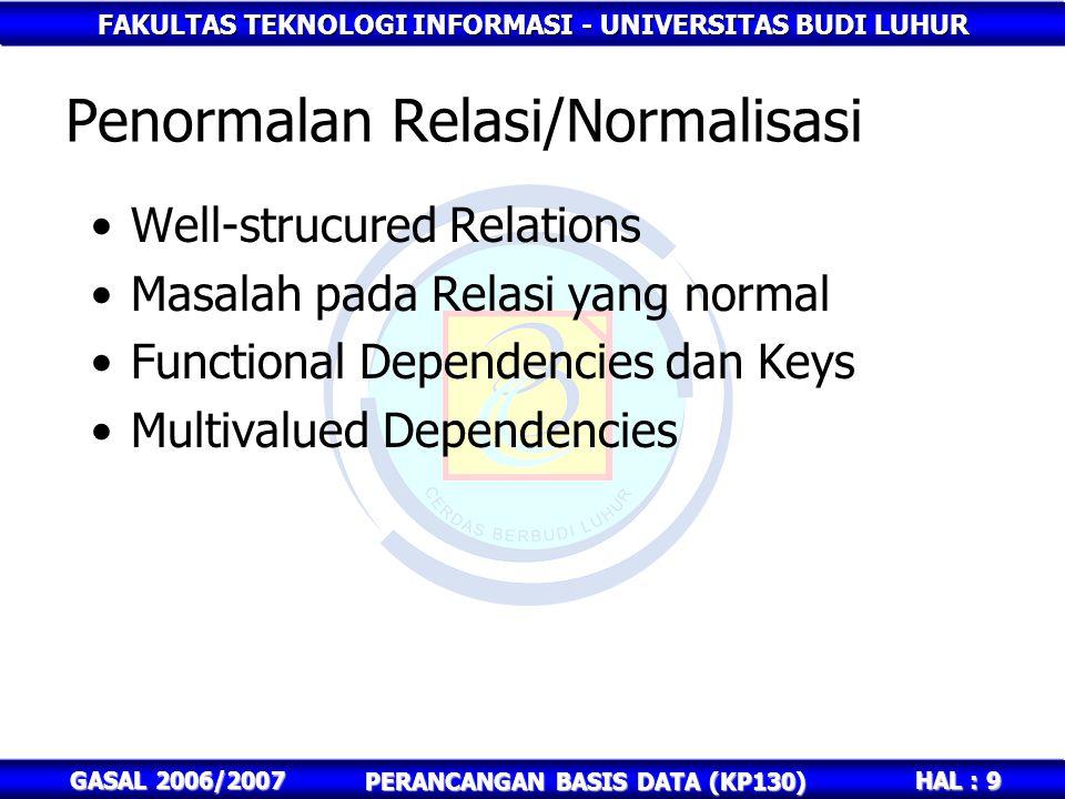 FAKULTAS TEKNOLOGI INFORMASI - UNIVERSITAS BUDI LUHUR HAL : 9 GASAL 2006/2007 PERANCANGAN BASIS DATA (KP130) Penormalan Relasi/Normalisasi Well-strucu