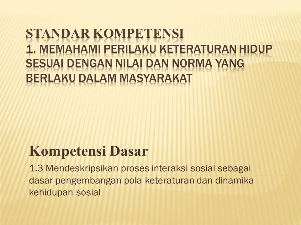 Kompetensi Dasar 1.3 Mendeskripsikan proses interaksi sosial sebagai dasar pengembangan pola keteraturan dan dinamika kehidupan sosial