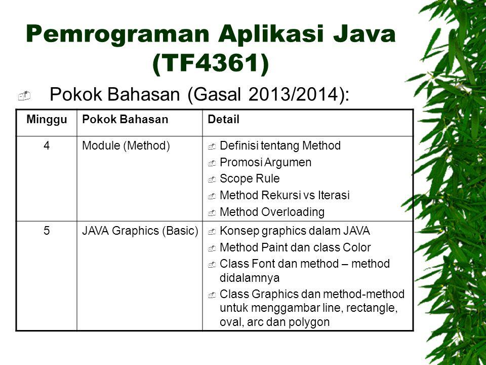 Pemrograman Aplikasi Java (TF4361)  Pokok Bahasan (Gasal 2013/2014): MingguPokok BahasanDetail 4Module (Method)  Definisi tentang Method  Promosi A