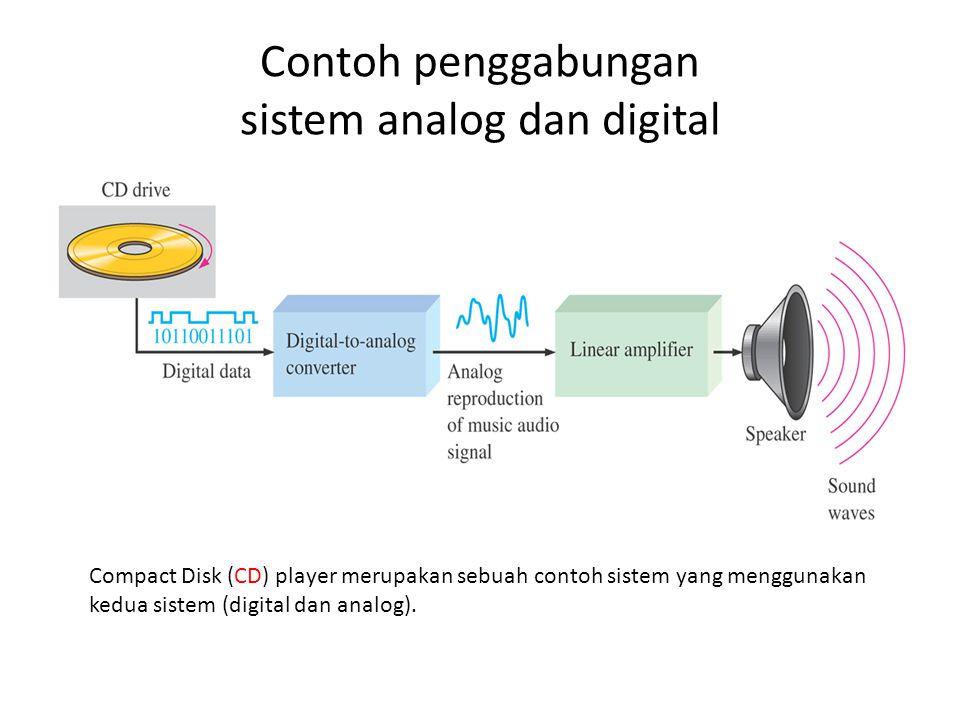 Contoh penggabungan sistem analog dan digital Compact Disk (CD) player merupakan sebuah contoh sistem yang menggunakan kedua sistem (digital dan analog).