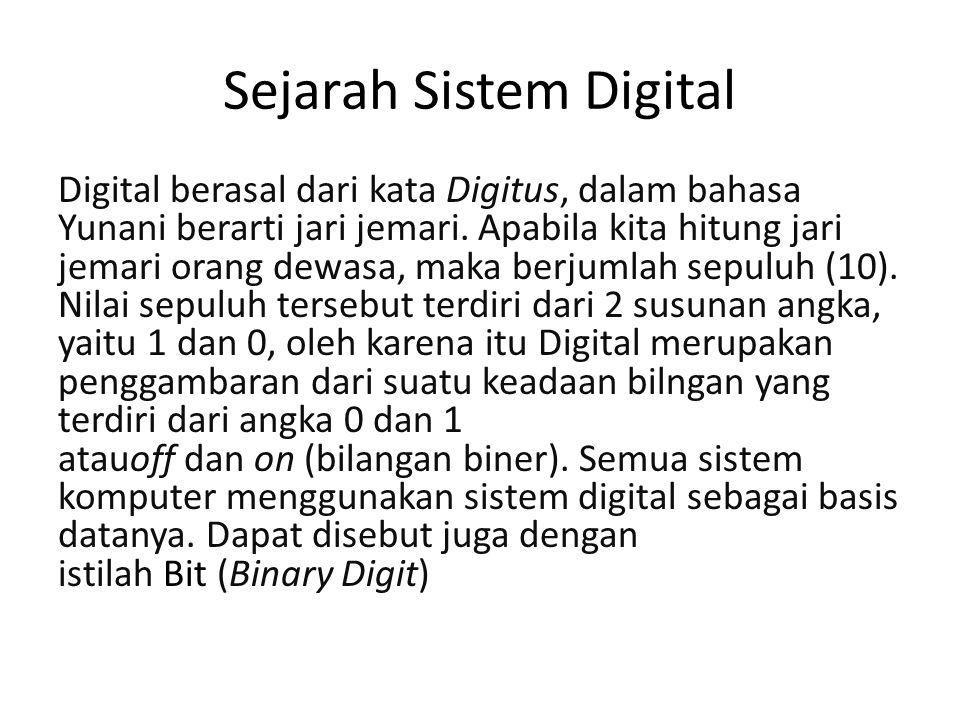 Sejarah Sistem Digital Digital berasal dari kata Digitus, dalam bahasa Yunani berarti jari jemari. Apabila kita hitung jari jemari orang dewasa, maka