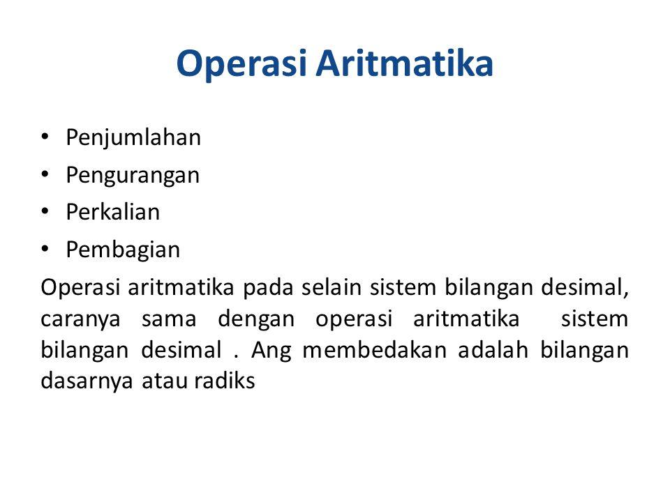 Operasi Aritmatika Penjumlahan Pengurangan Perkalian Pembagian Operasi aritmatika pada selain sistem bilangan desimal, caranya sama dengan operasi aritmatika sistem bilangan desimal.