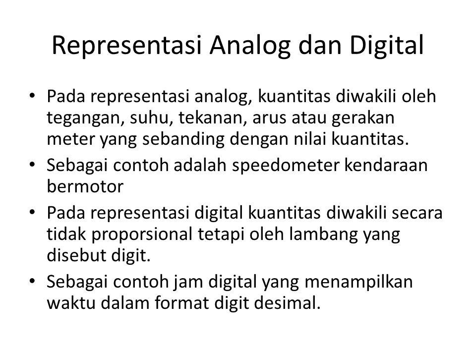 Representasi Analog dan Digital Pada representasi analog, kuantitas diwakili oleh tegangan, suhu, tekanan, arus atau gerakan meter yang sebanding dengan nilai kuantitas.