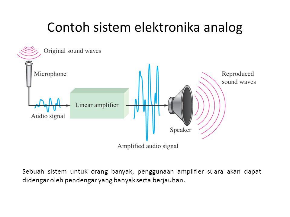 Contoh sistem elektronika analog Sebuah sistem untuk orang banyak, penggunaan amplifier suara akan dapat didengar oleh pendengar yang banyak serta berjauhan.