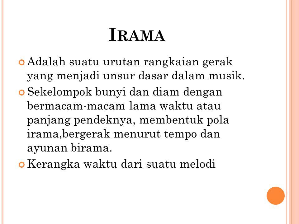 I RAMA Adalah suatu urutan rangkaian gerak yang menjadi unsur dasar dalam musik. Sekelompok bunyi dan diam dengan bermacam-macam lama waktu atau panja