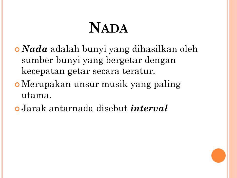 N ADA Nada adalah bunyi yang dihasilkan oleh sumber bunyi yang bergetar dengan kecepatan getar secara teratur. Merupakan unsur musik yang paling utama
