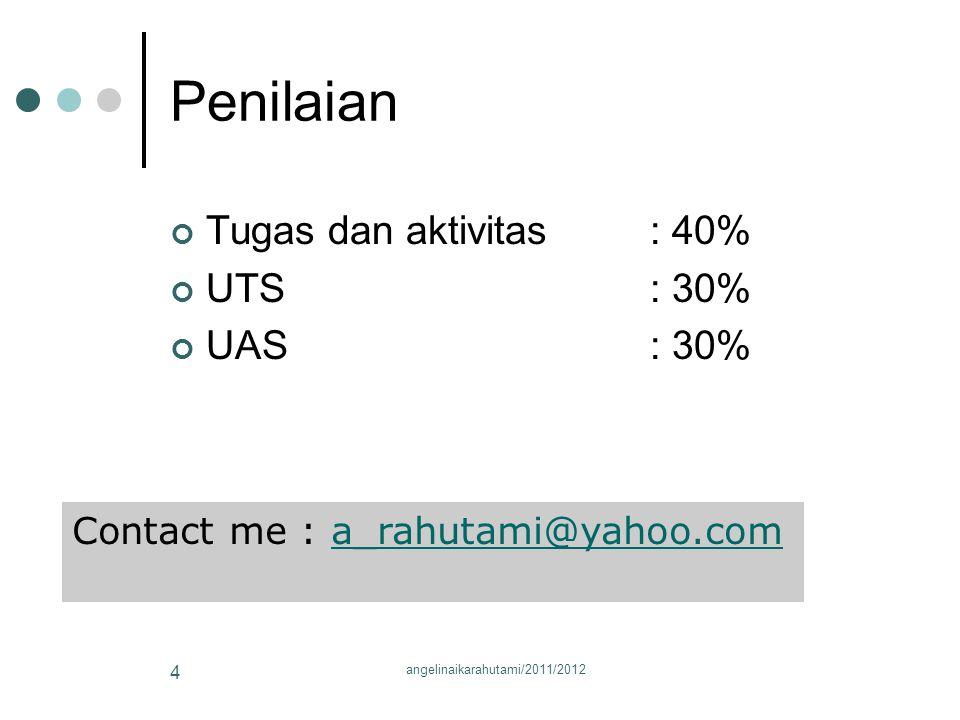 Penilaian Tugas dan aktivitas : 40% UTS: 30% UAS: 30% Contact me : a_rahutami@yahoo.coma_rahutami@yahoo.com 4 angelinaikarahutami/2011/2012