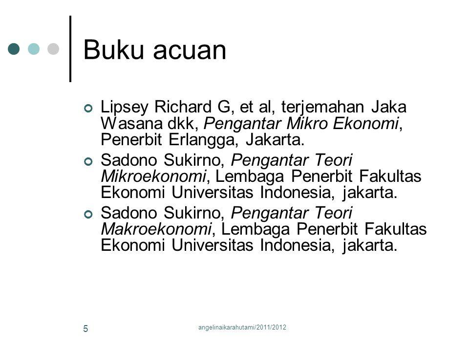 Buku acuan Lipsey Richard G, et al, terjemahan Jaka Wasana dkk, Pengantar Mikro Ekonomi, Penerbit Erlangga, Jakarta.