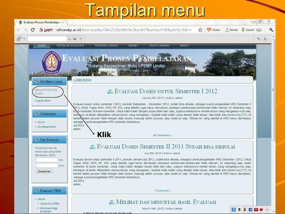 Tampilan menu
