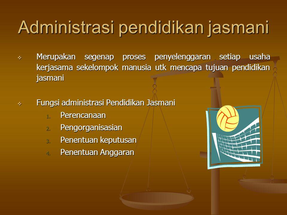 Administrasi pendidikan jasmani  Merupakan segenap proses penyelenggaran setiap usaha kerjasama sekelompok manusia utk mencapa tujuan pendidikan jasm