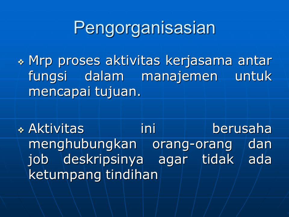 Pengorganisasian  Mrp proses aktivitas kerjasama antar fungsi dalam manajemen untuk mencapai tujuan.  Aktivitas ini berusaha menghubungkan orang-ora