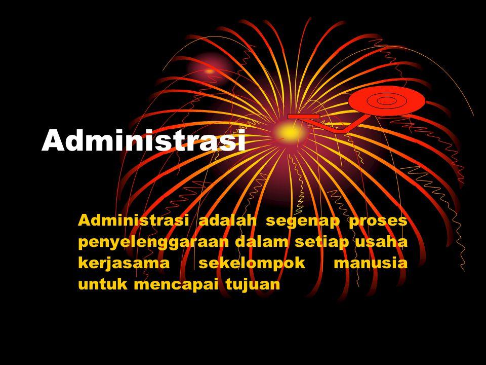 Administrasi Administrasi adalah segenap proses penyelenggaraan dalam setiap usaha kerjasama sekelompok manusia untuk mencapai tujuan