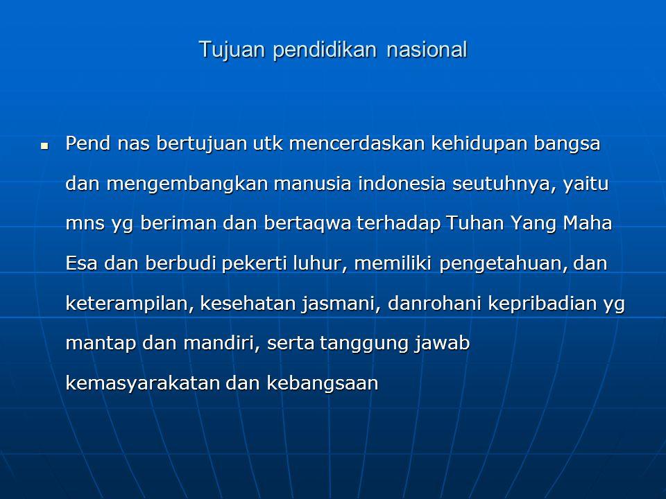 Tujuan pendidikan nasional Pend nas bertujuan utk mencerdaskan kehidupan bangsa dan mengembangkan manusia indonesia seutuhnya, yaitu mns yg beriman da