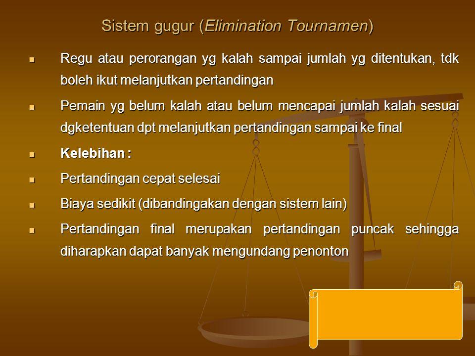 Sistem gugur (Elimination Tournamen) Regu atau perorangan yg kalah sampai jumlah yg ditentukan, tdk boleh ikut melanjutkan pertandingan Regu atau pero