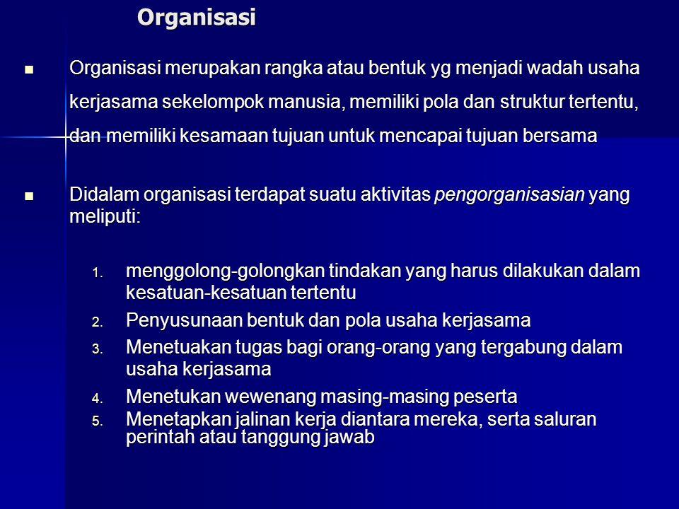Organisasi Organisasi merupakan rangka atau bentuk yg menjadi wadah usaha kerjasama sekelompok manusia, memiliki pola dan struktur tertentu, dan memil