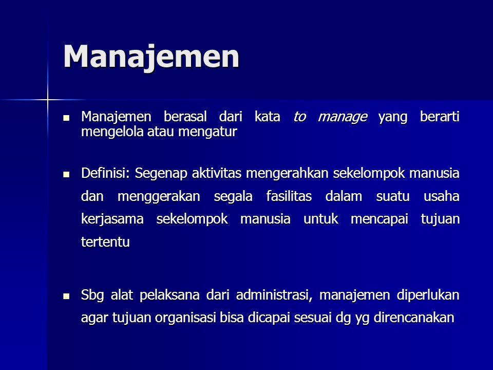 Manajemen Manajemen berasal dari kata to manage yang berarti mengelola atau mengatur Manajemen berasal dari kata to manage yang berarti mengelola atau