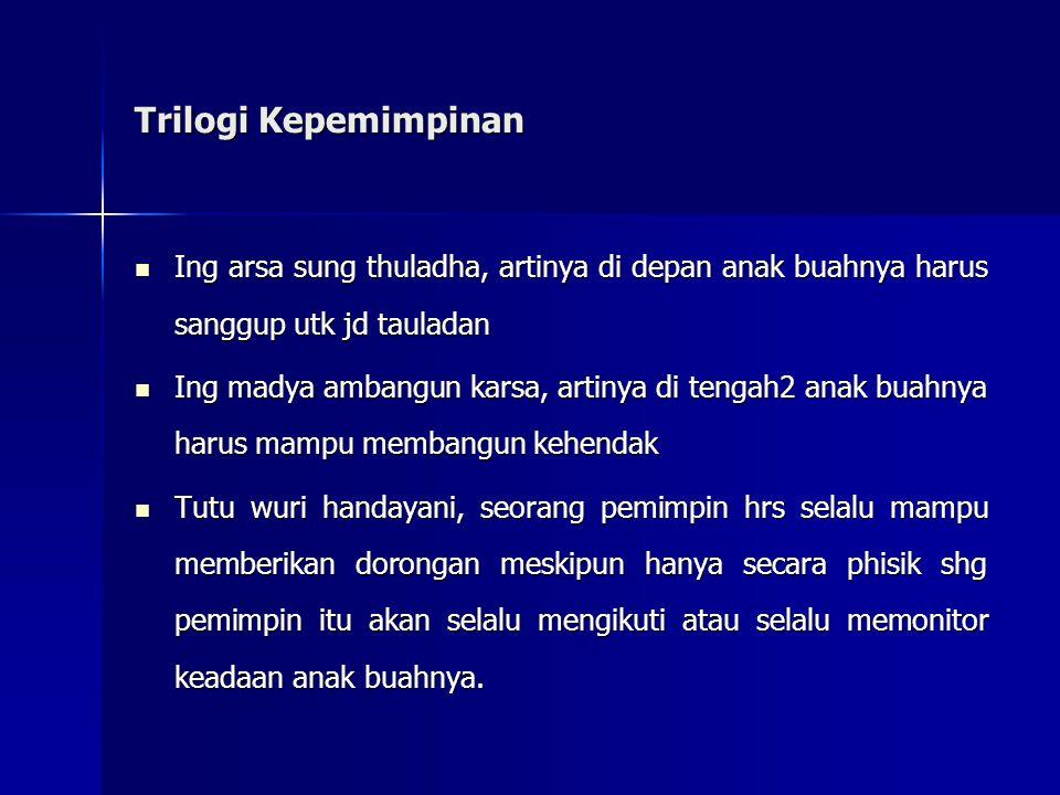 Trilogi Kepemimpinan Ing arsa sung thuladha, artinya di depan anak buahnya harus sanggup utk jd tauladan Ing arsa sung thuladha, artinya di depan anak