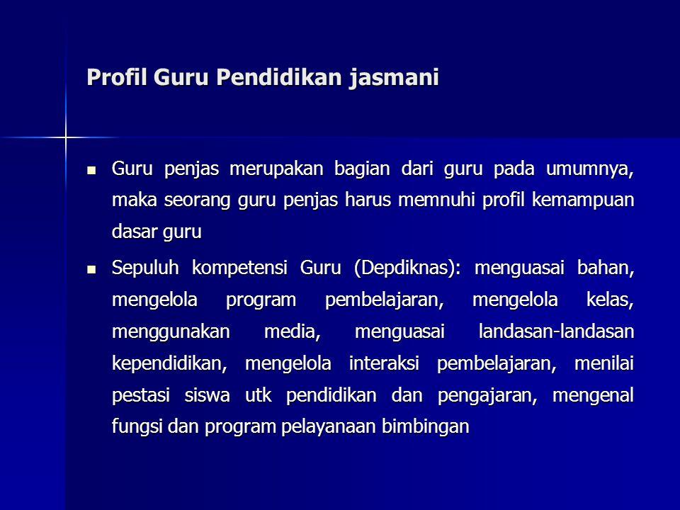 Profil Guru Pendidikan jasmani Guru penjas merupakan bagian dari guru pada umumnya, maka seorang guru penjas harus memnuhi profil kemampuan dasar guru