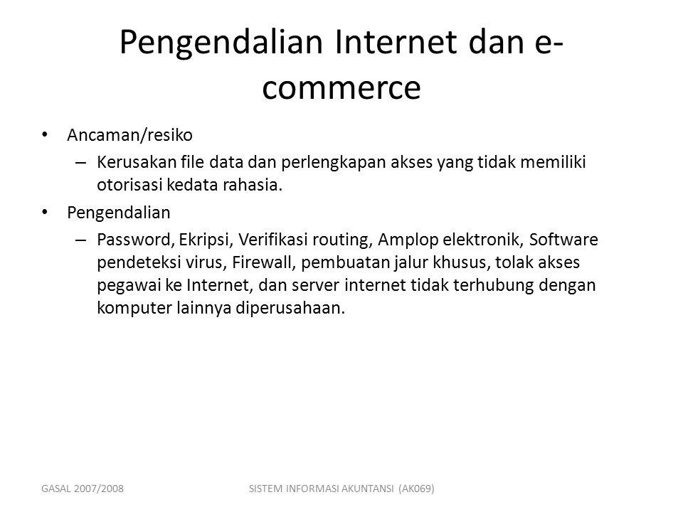 GASAL 2007/2008SISTEM INFORMASI AKUNTANSI (AK069) Pengendalian Internet dan e- commerce Ancaman/resiko – Kerusakan file data dan perlengkapan akses ya