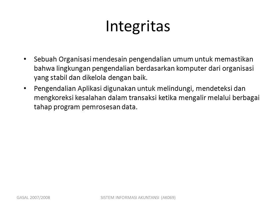 GASAL 2007/2008SISTEM INFORMASI AKUNTANSI (AK069) Integritas Sebuah Organisasi mendesain pengendalian umum untuk memastikan bahwa lingkungan pengendal